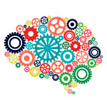 Mindfest logo graphic featuring a brain made of cogs