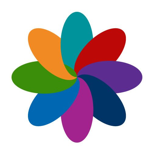 PGCorEd multi-coloured floral-shaped icon